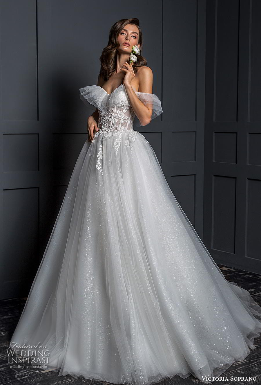 victoria soprano 2020 bridal off the shoulder sweetheart necklne heavily embellished bodice romantic ball gown a line wedding dress mid back chapel train (6) mv