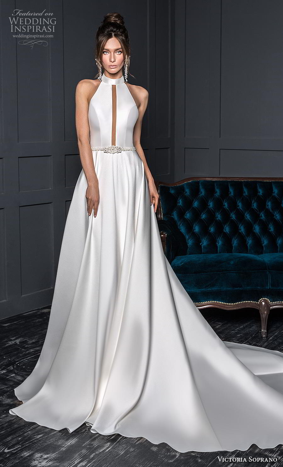 victoria soprano 2020 bridal sleeveless halter neck jewel neckline slit bodice simple clean minimalist elegant a line wedding dress backless chapel train (15) mv