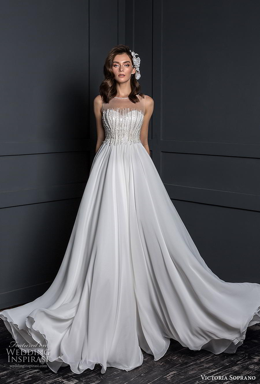 victoria soprano 2020 bridal sleeveless illusion bateau sweetheart neckline heavily embellished bodice glamorous elegant a line wedding dress sheer button back chapel train (10) mv