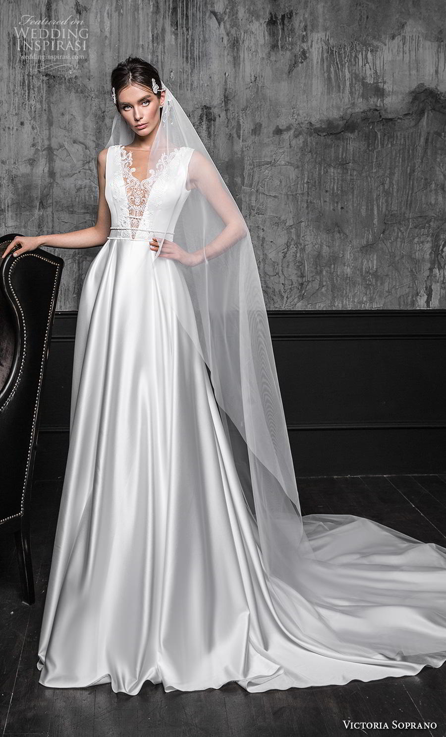 victoria soprano 2020 bridal sleevess illusion bateau v neck heavily embellished bodice satin a line elegant wedding dress illusion v back chapel train (17) mv