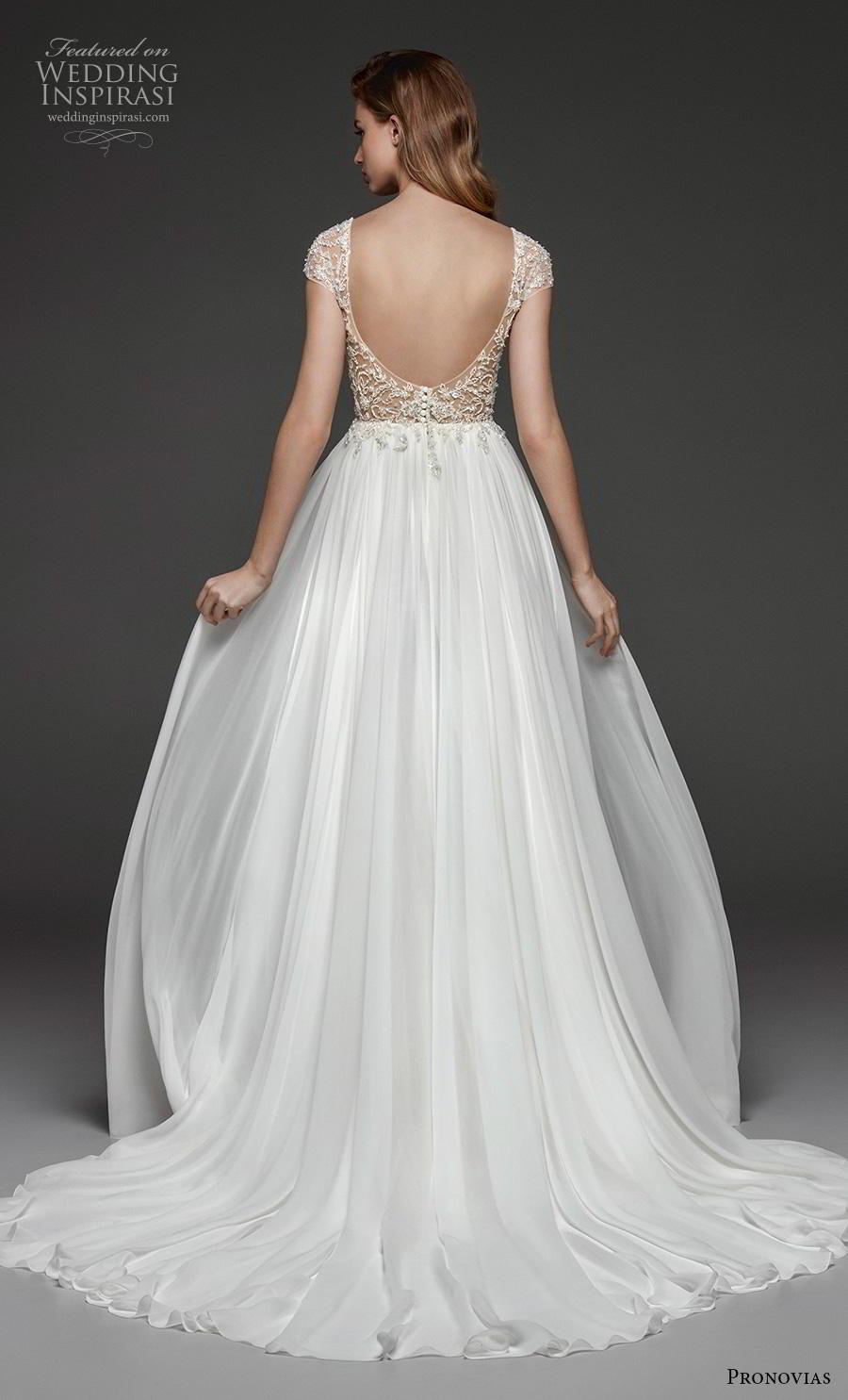 atelier pronovias 2019 bridal cap sleeves v neck heavily embellished bodice romantic a  line wedding dress backless scoop back chapel train (17) bv