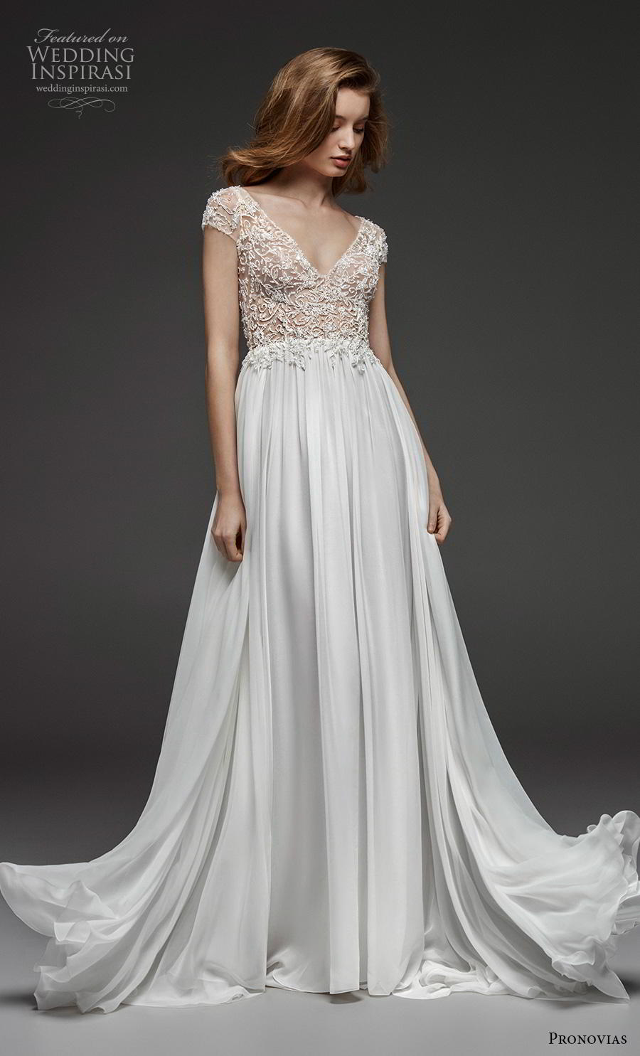 atelier pronovias 2019 bridal cap sleeves v neck heavily embellished bodice romantic a  line wedding dress backless scoop back chapel train (17) mv