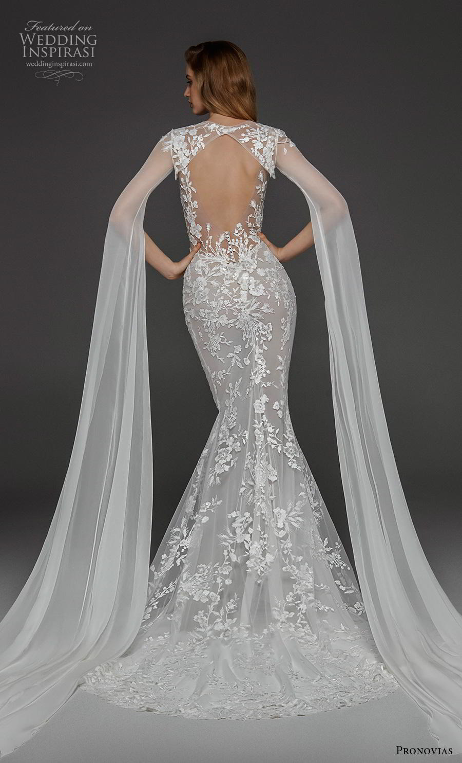 atelier pronovias 2019 bridal hanging sleeves v neck full embellishment elegant fit and flare wedding dress keyhole back sweep train (6) bv