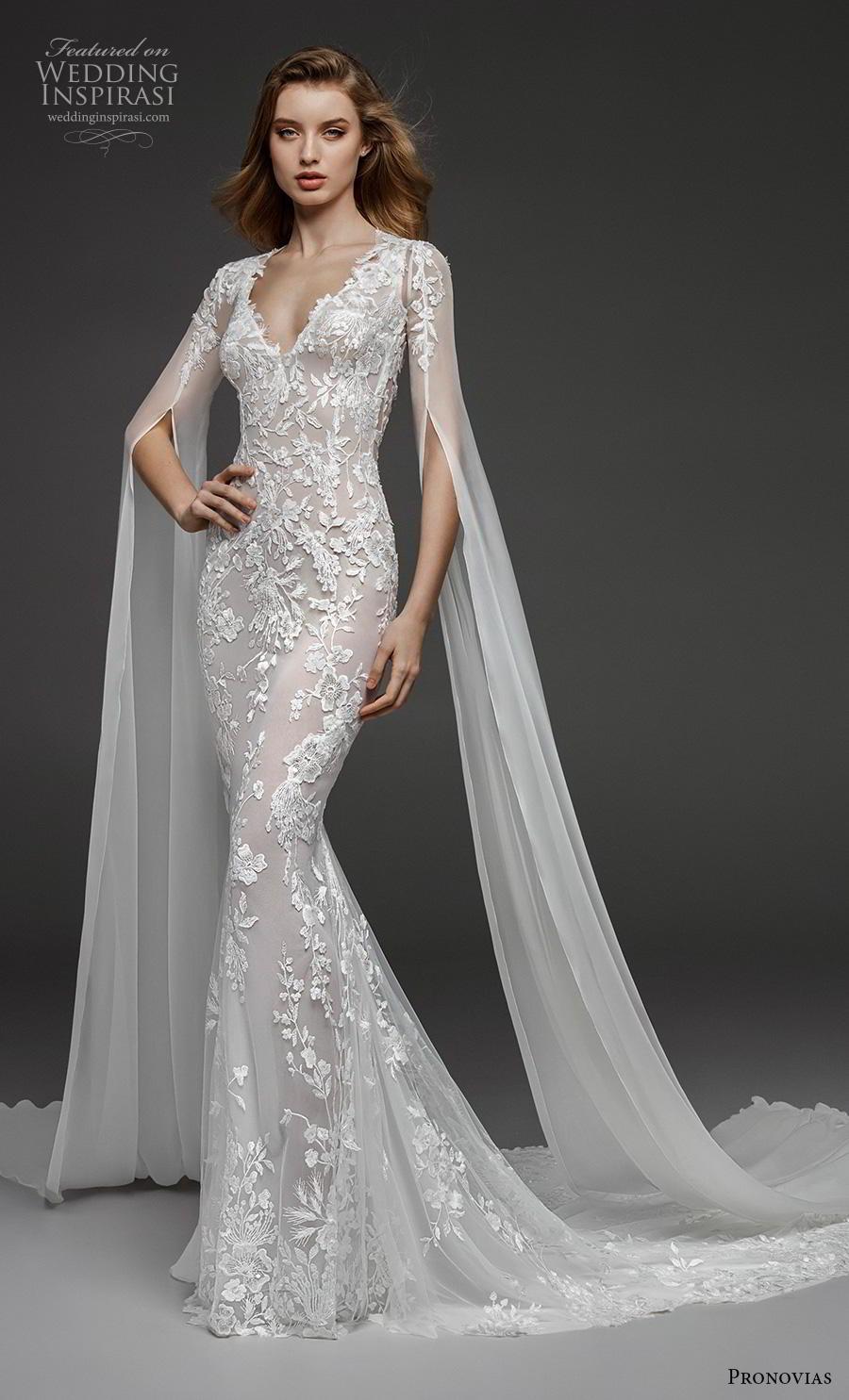 atelier pronovias 2019 bridal hanging sleeves v neck full embellishment elegant fit and flare wedding dress keyhole back sweep train (6) mv