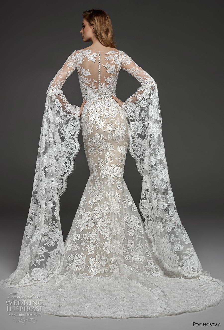 atelier pronovias 2019 bridal long bell sleeves straight across neckline full embellishment elegant fit and flare wedding dress lace button back chapel train (14) bv
