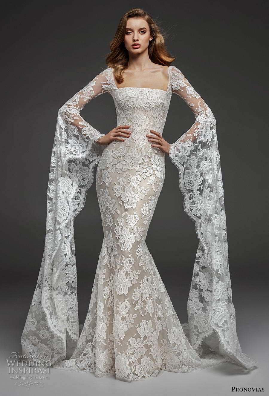 atelier pronovias 2019 bridal long bell sleeves straight across neckline full embellishment elegant fit and flare wedding dress lace button back chapel train (14) mv