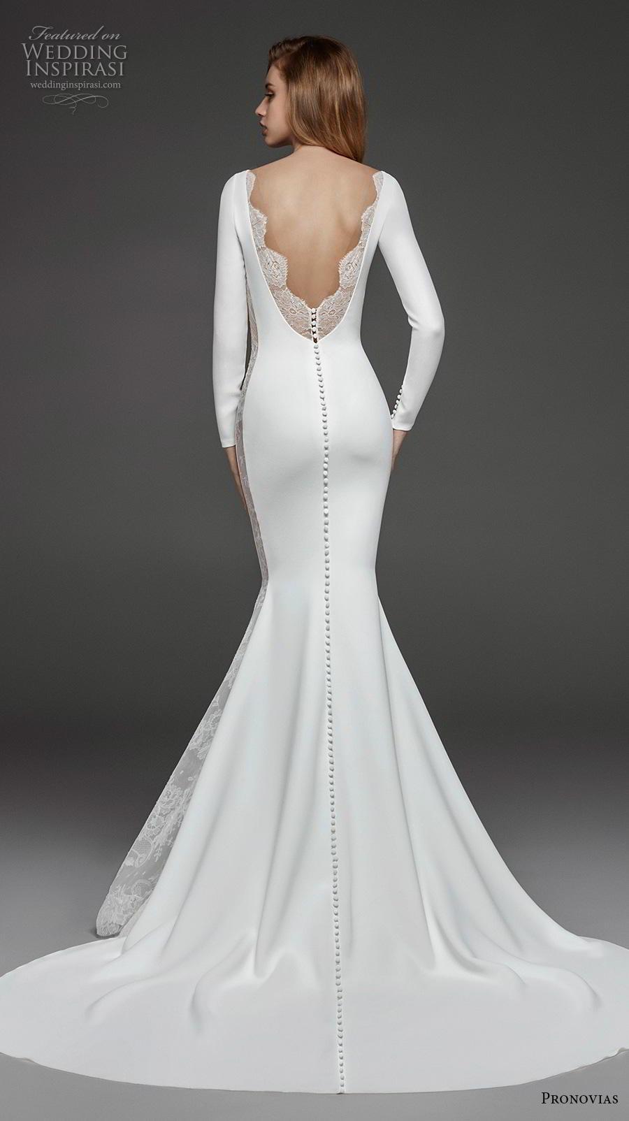atelier pronovias 2019 bridal long sleeves bateau neckline simple minimalist elegant fit and flare wedding dress backless low v back chapel train (19) bv