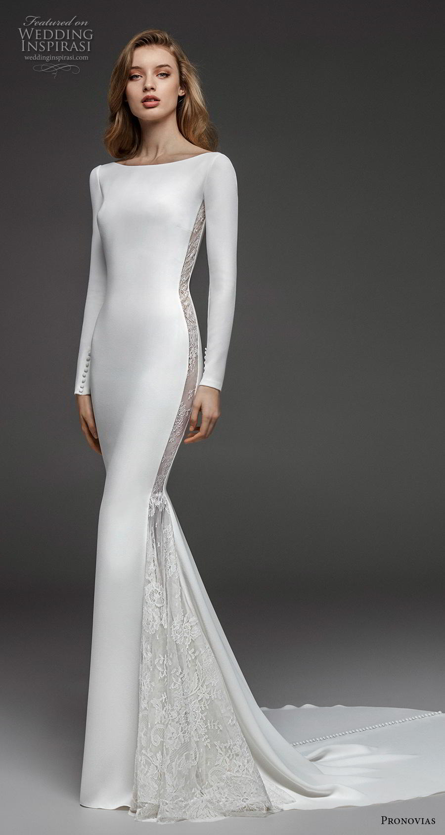 atelier pronovias 2019 bridal long sleeves bateau neckline simple minimalist elegant fit and flare wedding dress backless low v back chapel train (19) mv