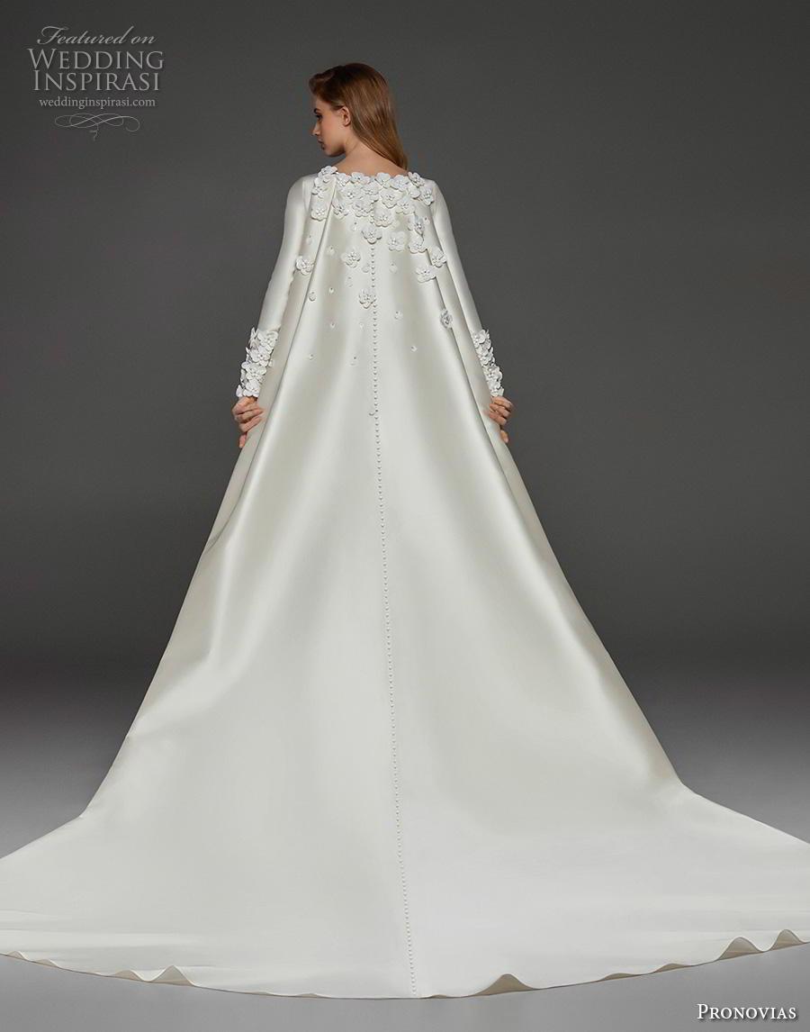 atelier pronovias 2019 bridal long sleeves bateau neckline simple minimalist elegant princess a  line wedding dress watteau train (21) bv