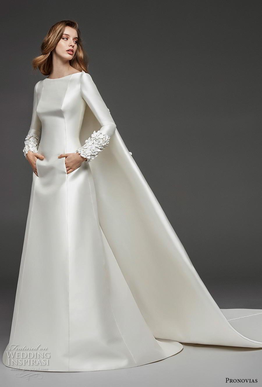 atelier pronovias 2019 bridal long sleeves bateau neckline simple minimalist elegant princess a  line wedding dress watteau train (21) mv