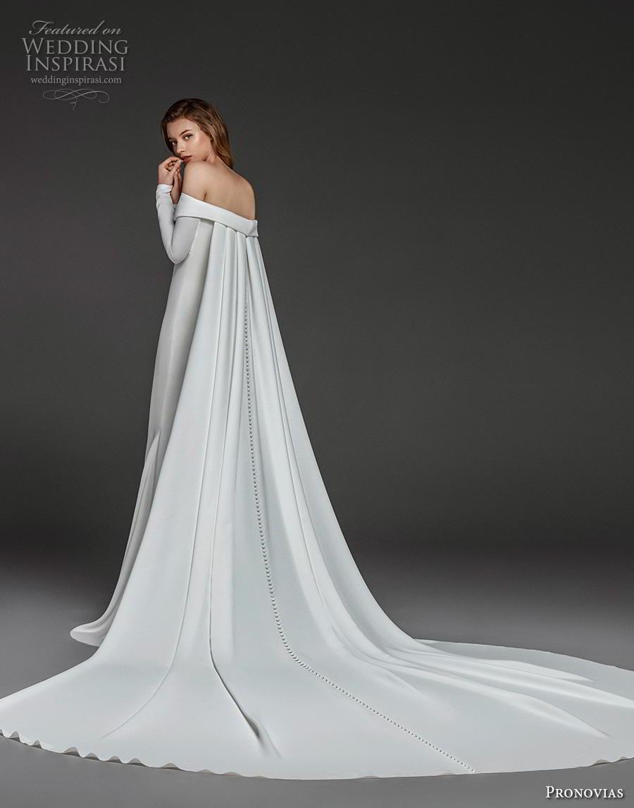 atelier pronovias 2019 bridal long sleeves off the shoulder neckline simple minimalist elegant fit and flare wedding dress watteau train (8) bv