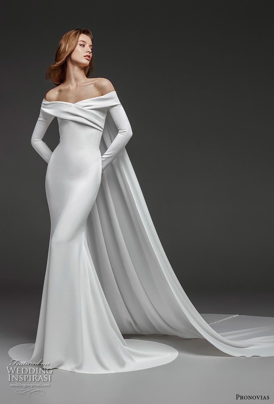 atelier pronovias 2019 bridal long sleeves off the shoulder neckline simple minimalist elegant fit and flare wedding dress watteau train (8) mv