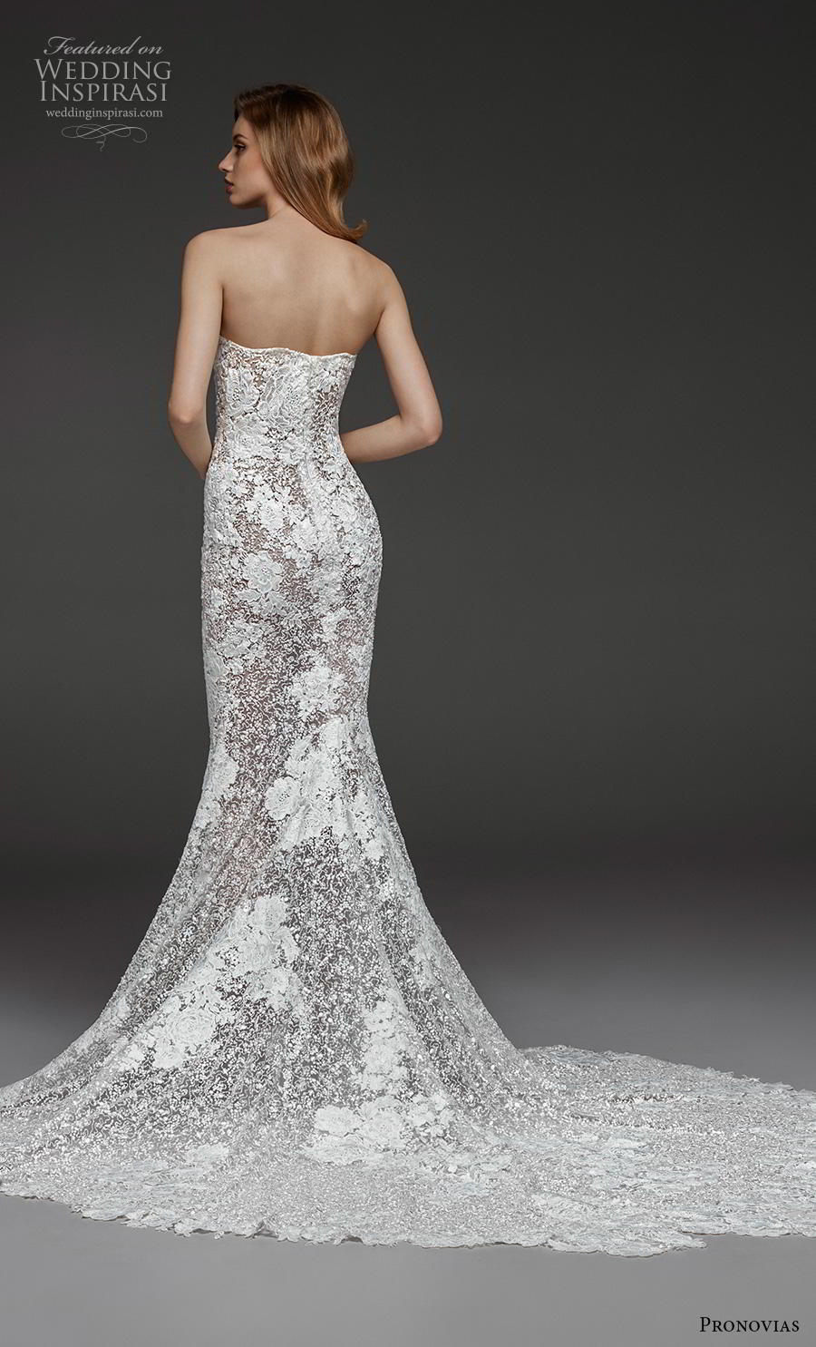 atelier pronovias 2019 bridal long sleeves strapless sweetheart neckline full embellishment elegant glamorous fit and flare wedding dress chapel train (7) bv