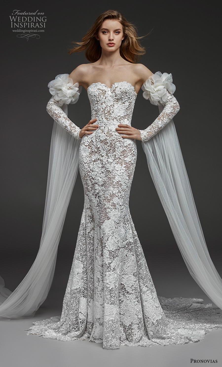 atelier pronovias 2019 bridal long sleeves strapless sweetheart neckline full embellishment elegant glamorous fit and flare wedding dress chapel train (7) mv