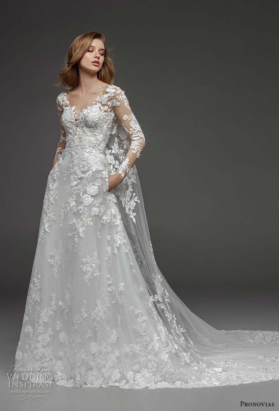 atelier pronovias 2019 bridal long sleeves v neck full embellishment elegant princess a  line wedding dress pockets royal train (18) mv