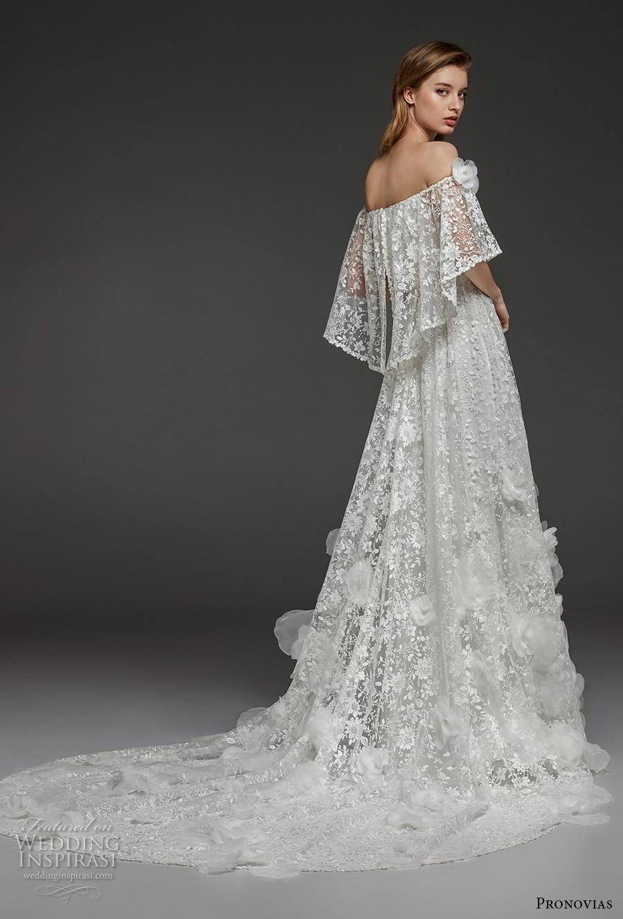 atelier pronovias 2019 bridal of the shoulder straight across neckline full embellishment blouson romantic boho a  line wedding dress chapel train (12) bv