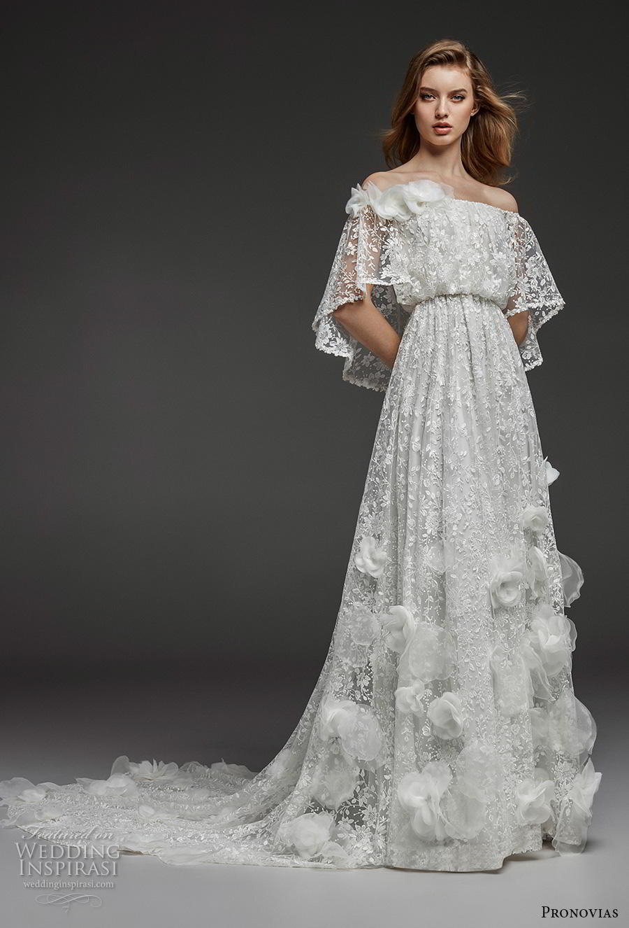 atelier pronovias 2019 bridal of the shoulder straight across neckline full embellishment blouson romantic boho a  line wedding dress chapel train (12) mv