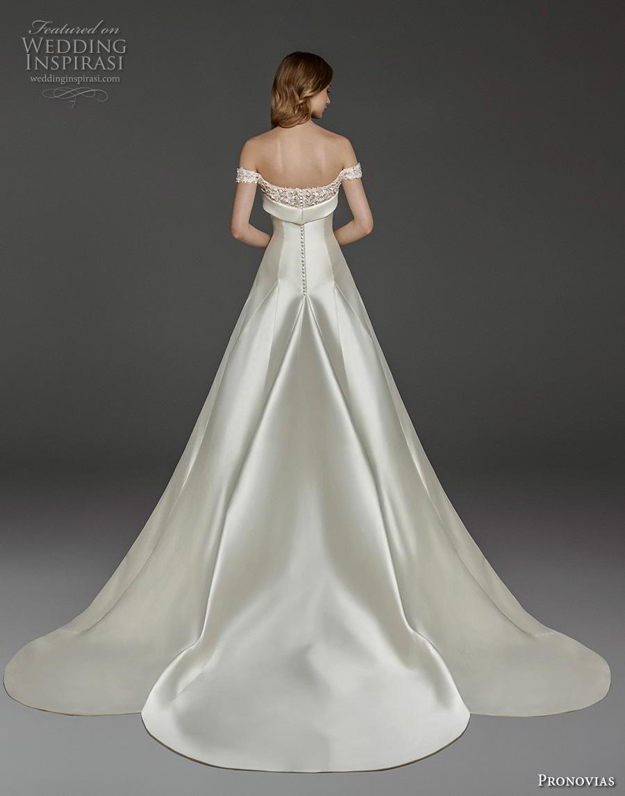 atelier pronovias 2019 bridal off the shoulder semi sweetheart neckline simple minimalist elegant romantic a  line wedding dress chapel train (22) bv