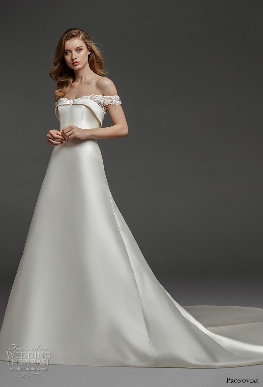 atelier pronovias 2019 bridal off the shoulder semi sweetheart neckline simple minimalist elegant romantic a  line wedding dress chapel train (22) mv