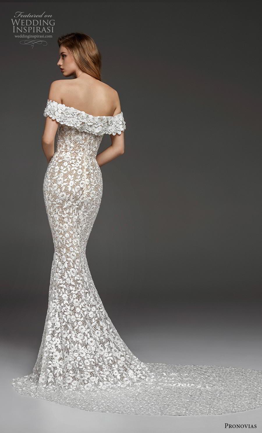 atelier pronovias 2019 bridal off the shoulder straight across neckline full embellishment elegant fit and flare wedding dress sweep train (23) bv