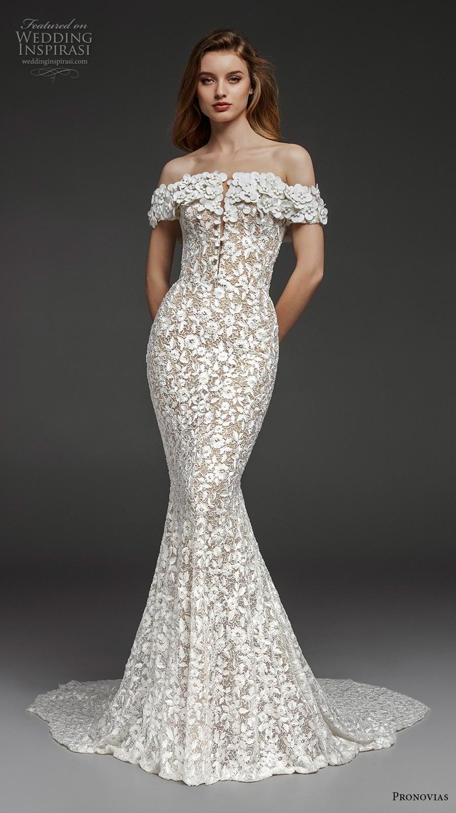 atelier pronovias 2019 bridal off the shoulder straight across neckline full embellishment elegant fit and flare wedding dress sweep train (23) mv