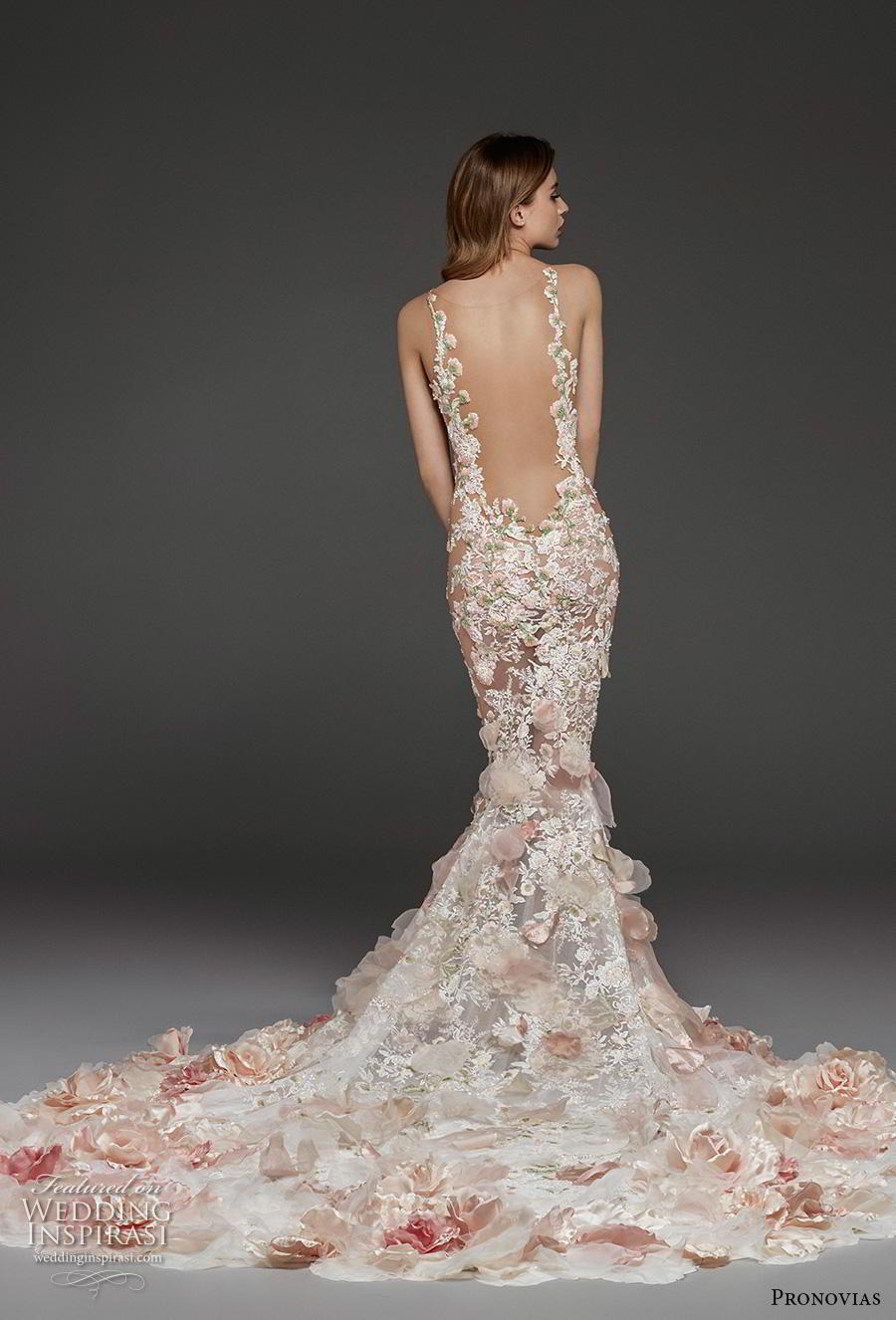 atelier pronovias 2019 bridal sleeveless deep v neck full embellishment elegant blush fit and flare wedding dress backless low scoop back chapel train (3) bv