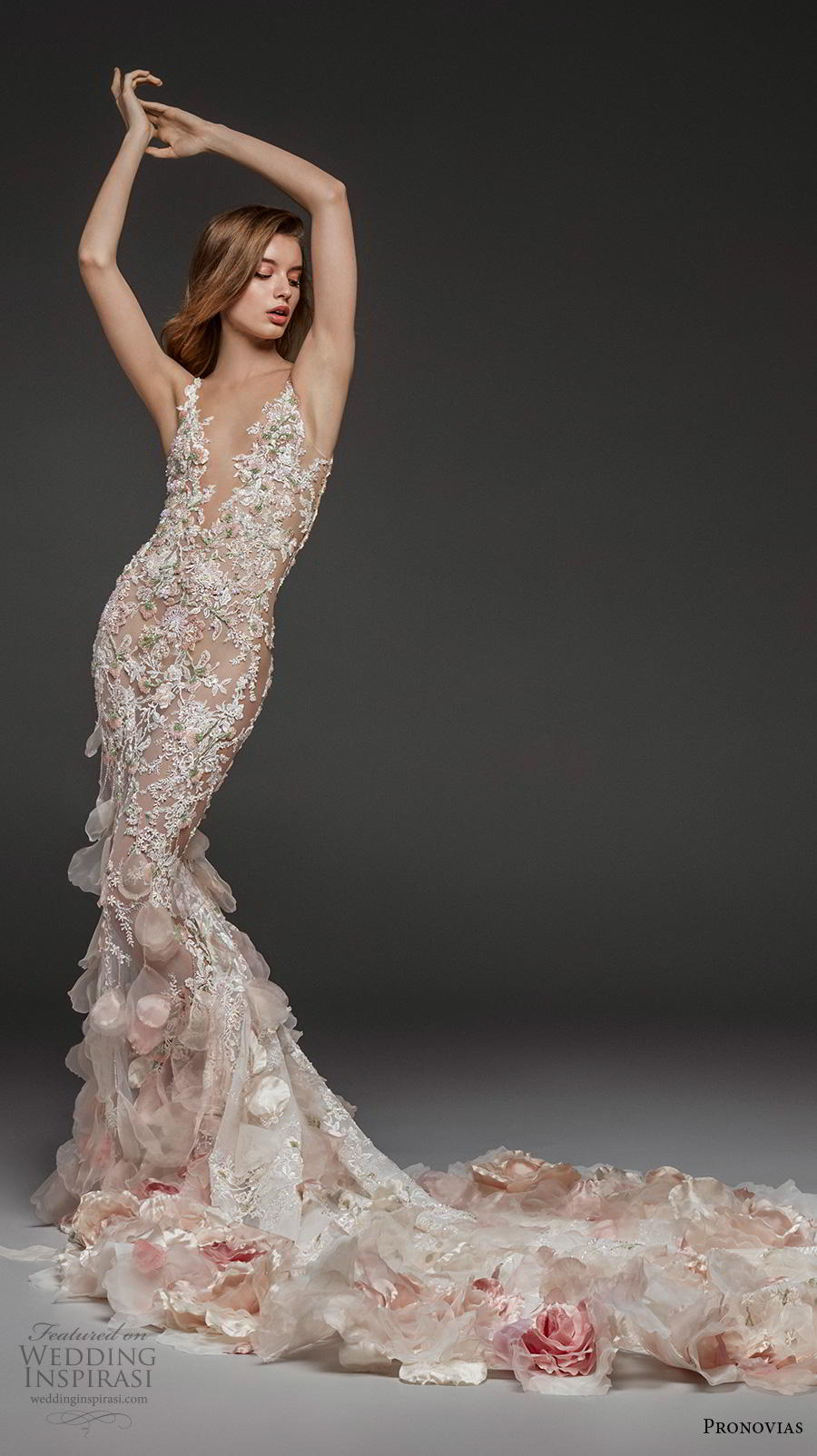 atelier pronovias 2019 bridal sleeveless deep v neck full embellishment elegant blush fit and flare wedding dress backless low scoop back chapel train (3) mv