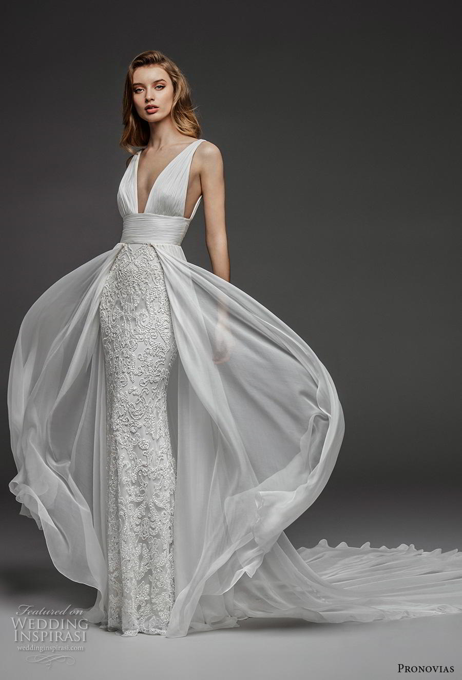 atelier pronovias 2019 bridal sleeveless deep v neck ruched bodice embellished skirt romantic sexy sheath wedding dress a  line overskirt backless chapel train (11) mv