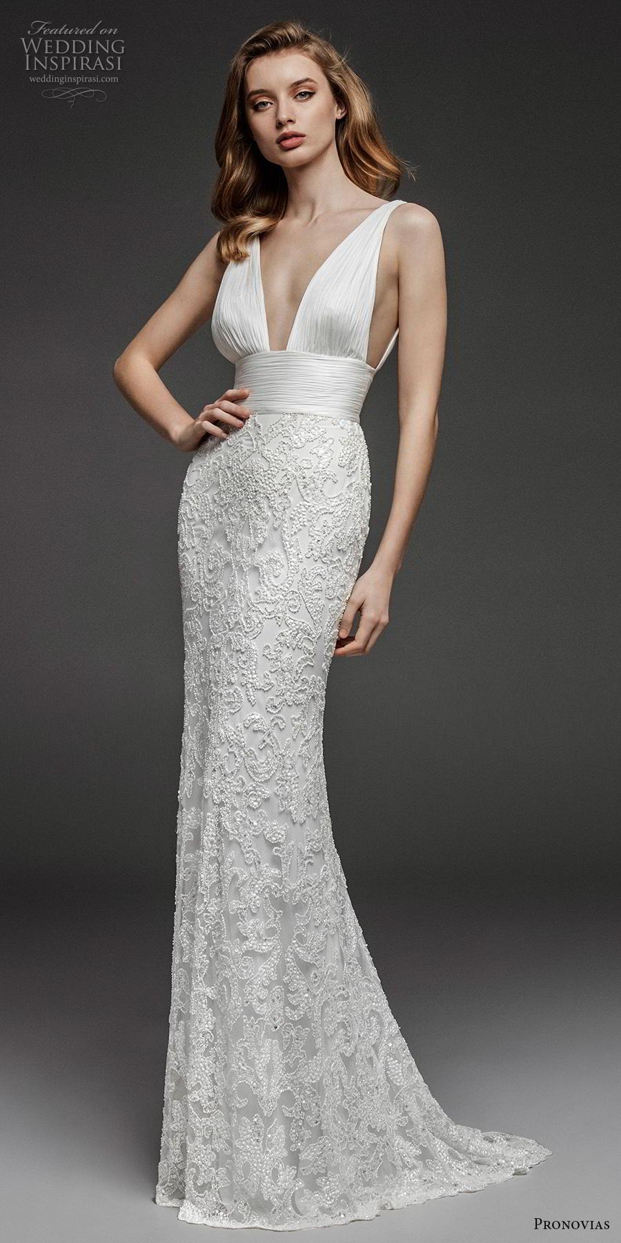 atelier pronovias 2019 bridal sleeveless deep v neck ruched bodice embellished skirt romantic sexy sheath wedding dress backless sweep train (11) mv