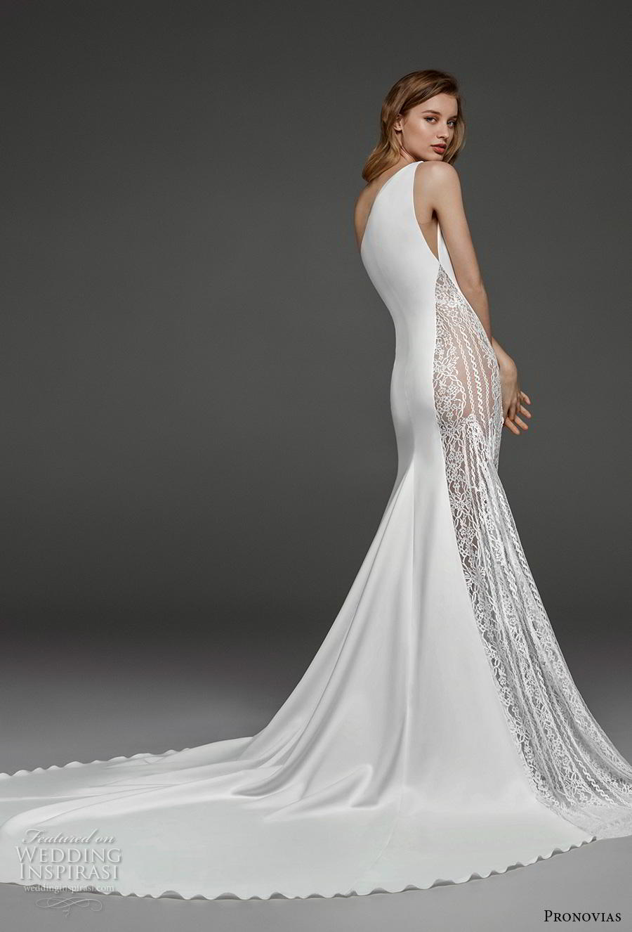 atelier pronovias 2019 bridal sleeveless one shoulder neckline simple minimalist slit skirt modified a  line wedding dress chapel train (13) bv