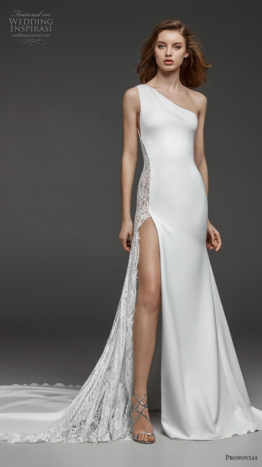 atelier pronovias 2019 bridal sleeveless one shoulder neckline simple minimalist slit skirt modified a  line wedding dress chapel train (13) mv