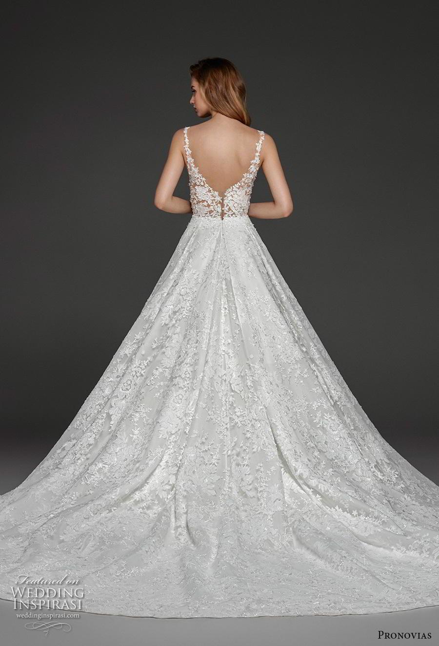 atelier pronovias 2019 bridal sleeveless strap sweetheart neckline full embellishment romantic a  line wedding dress pockets open v back chapel train (4) bv