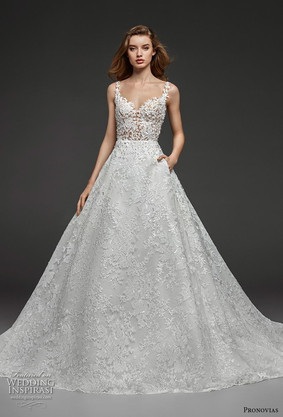 atelier pronovias 2019 bridal sleeveless strap sweetheart neckline full embellishment romantic a  line wedding dress pockets open v back chapel train (4) mv