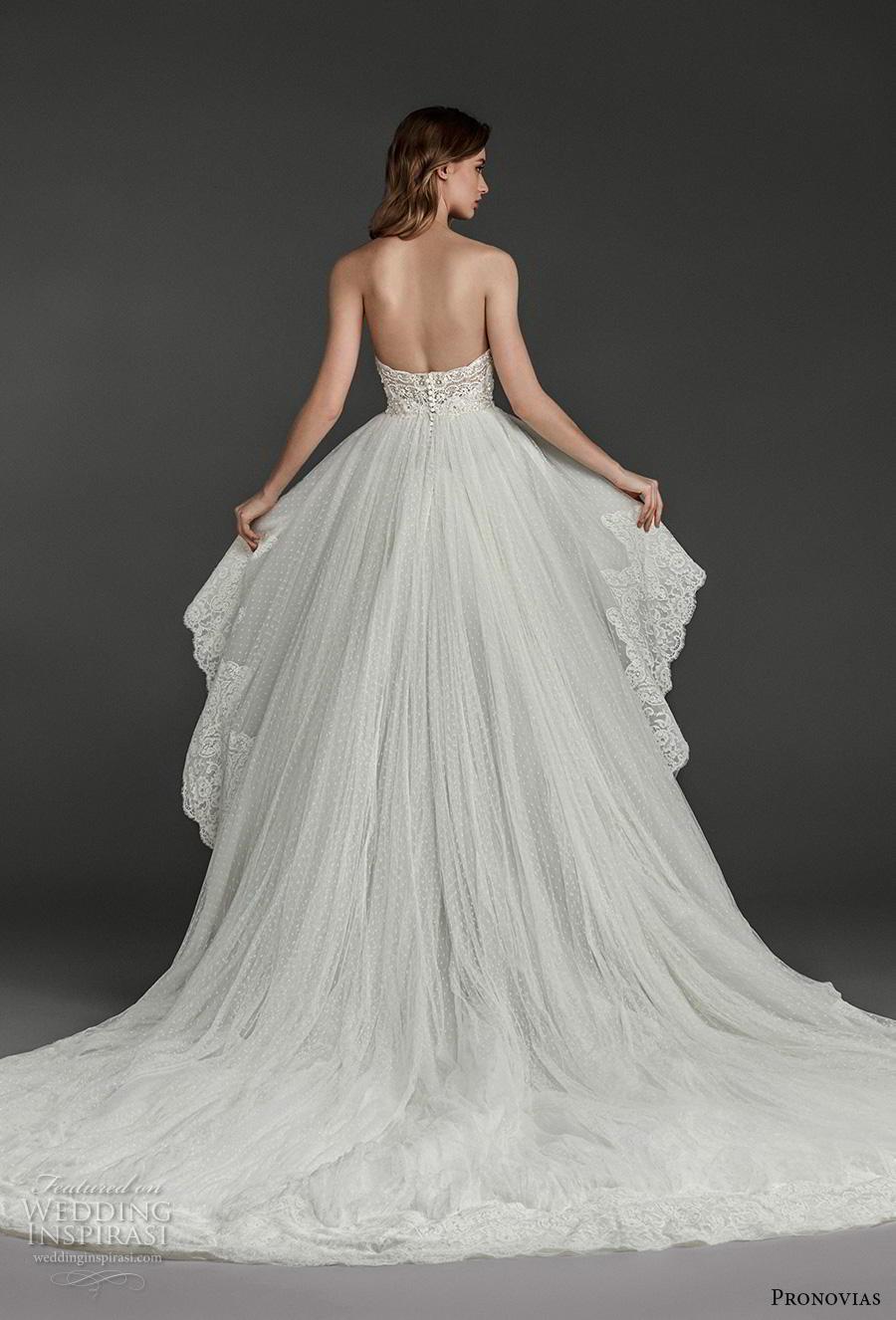 atelier pronovias 2019 bridal strapless sweetheart neckline heavily embellished bodice hem romantic high low wedding dress backless chapel train (15) bv