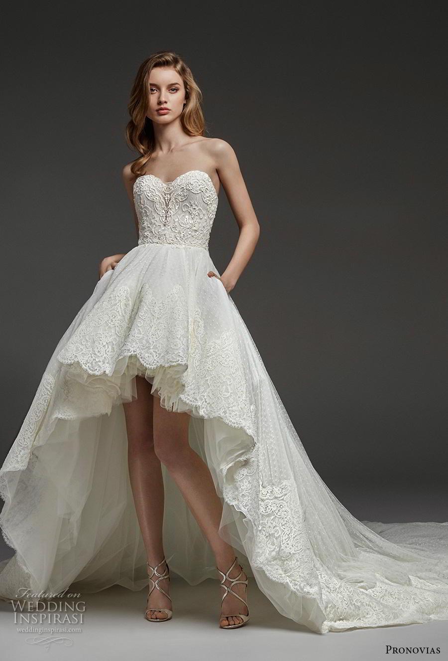 atelier pronovias 2019 bridal strapless sweetheart neckline heavily embellished bodice hem romantic high low wedding dress backless chapel train (15) mv