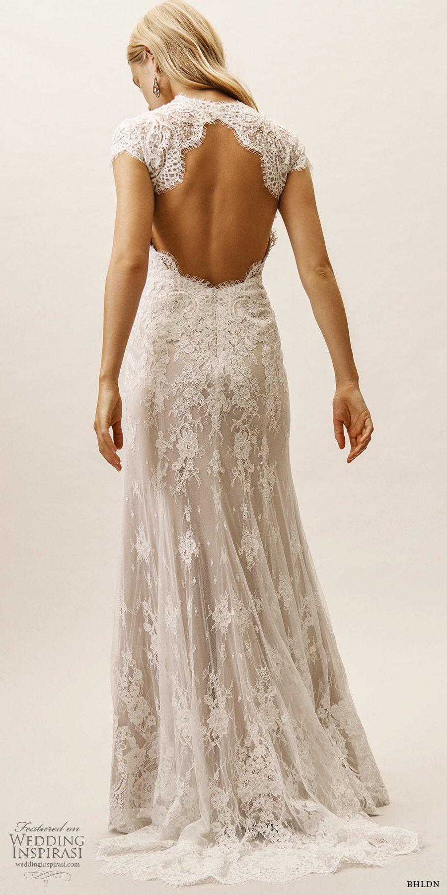 bhldn spring 2019 bridal cap sleeves high neck lace sheath trumpet fit flare wedding dress keyhole back elegant sweep train (15) bv