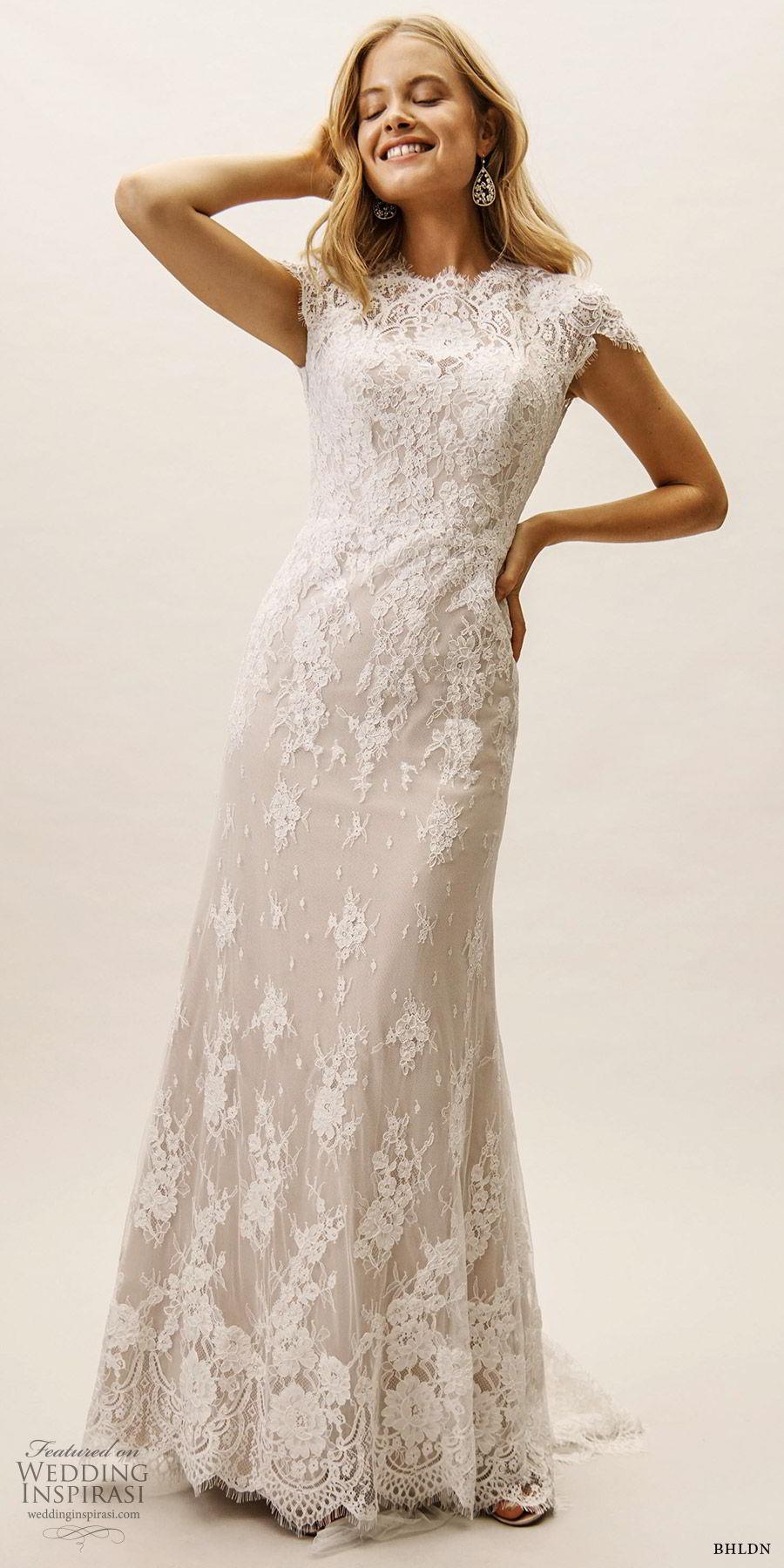 bhldn spring 2019 bridal cap sleeves high neck lace sheath trumpet fit flare wedding dress keyhole back elegant sweep train (15) mv