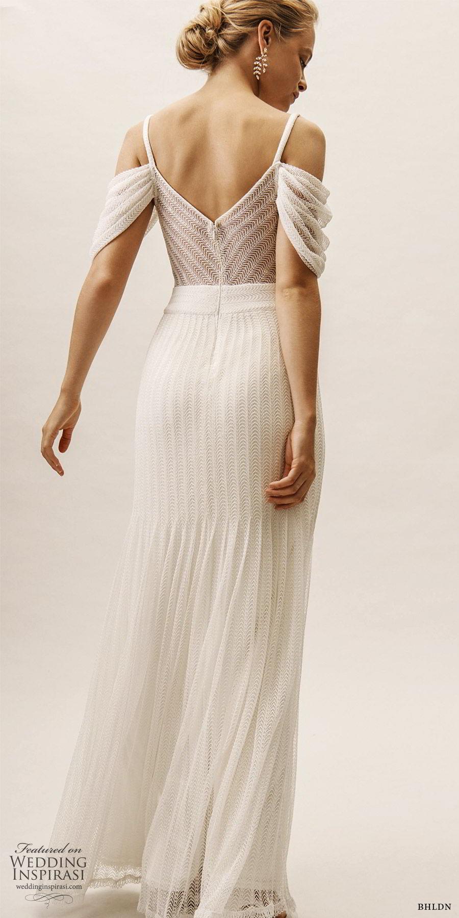 bhldn spring 2019 bridal cold shoulder v neckline sheer cutout fit flare trumpet wedidng dress modern romantic (10) bv