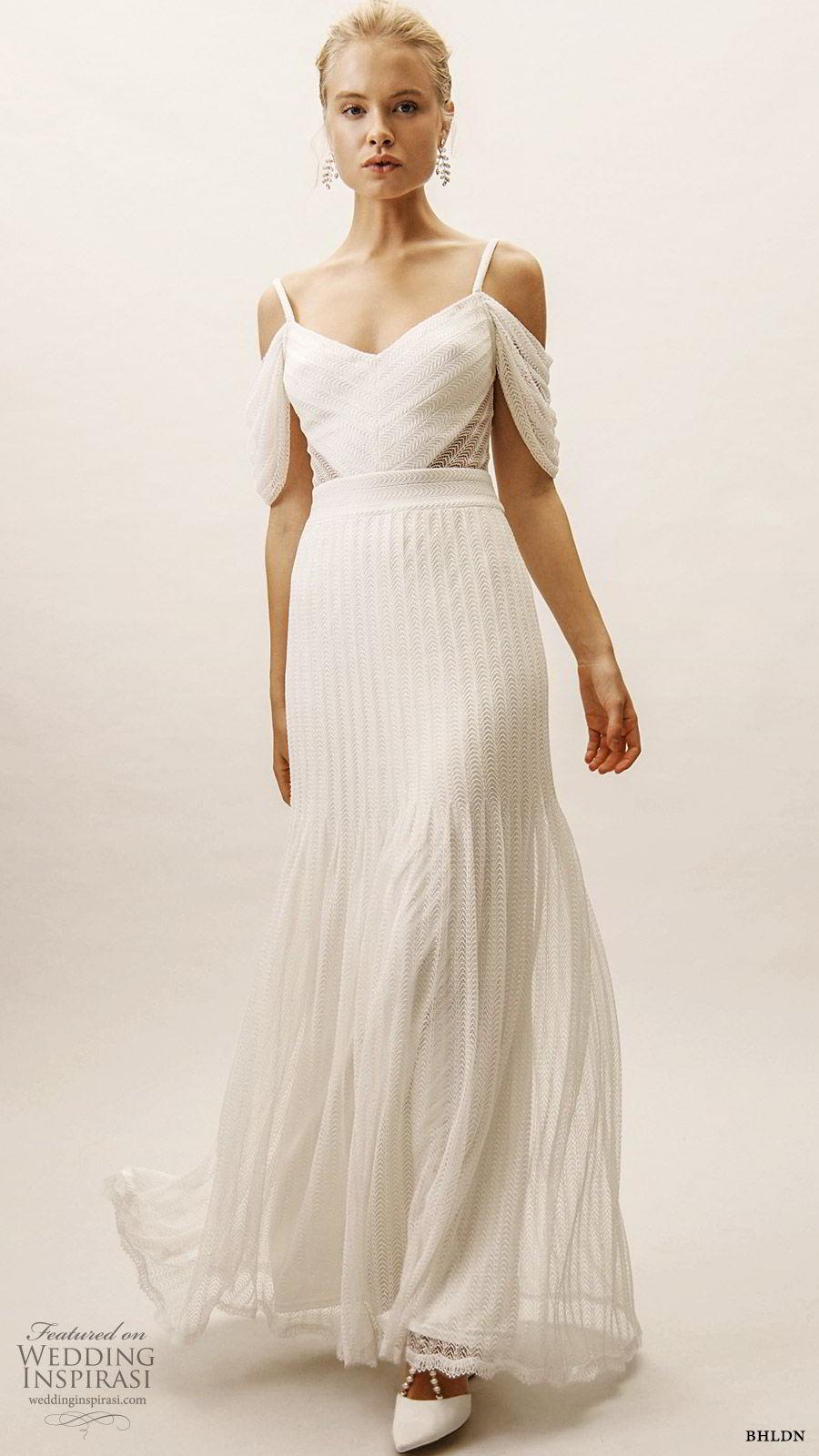 bhldn spring 2019 bridal cold shoulder v neckline sheer cutout fit flare trumpet wedidng dress modern romantic (10) mv