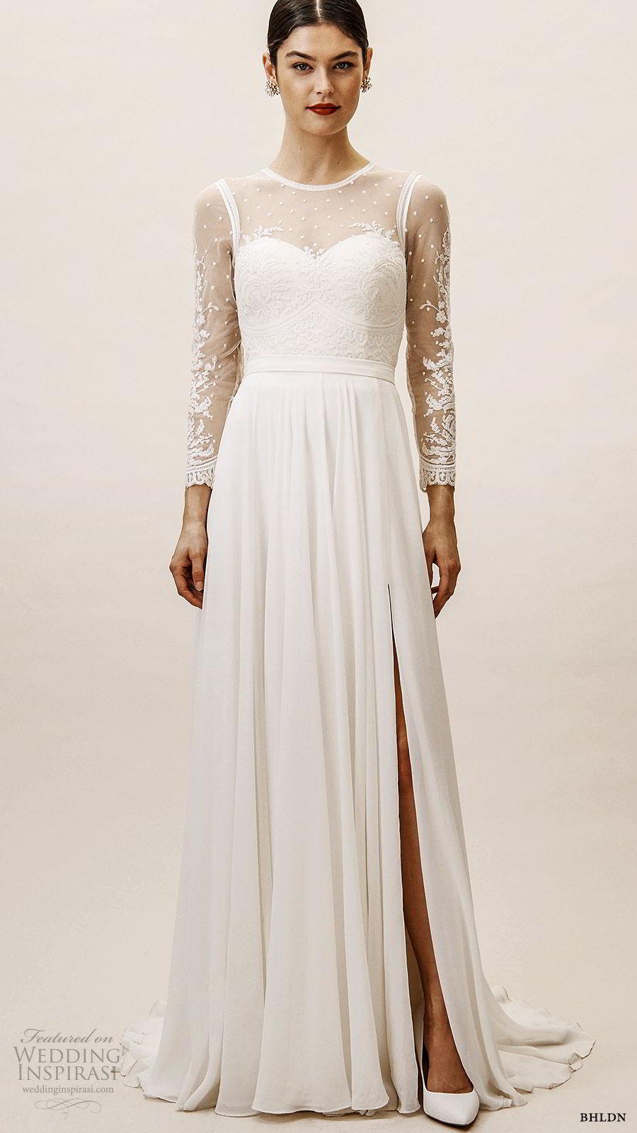 bhldn spring 2019 bridal illusion long sleeves sheer jewel neckline sweetheart bodice a line wedding dress slit skirt elegant (7) mv