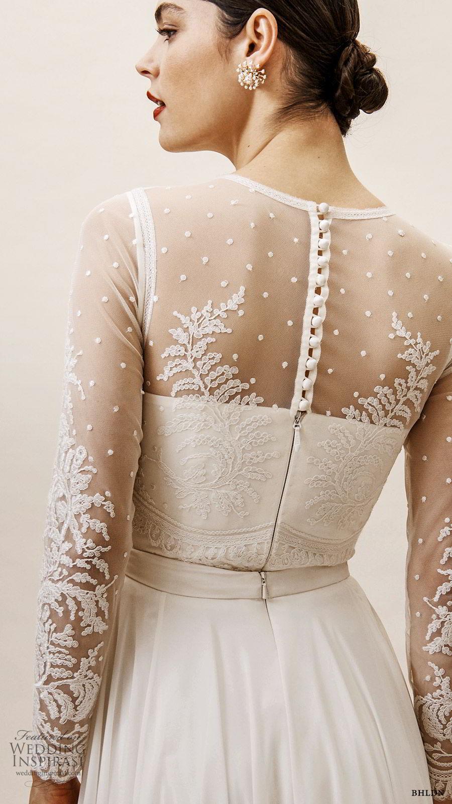 bhldn spring 2019 bridal illusion long sleeves sheer jewel neckline sweetheart bodice a line wedding dress slit skirt elegant (7) zbv