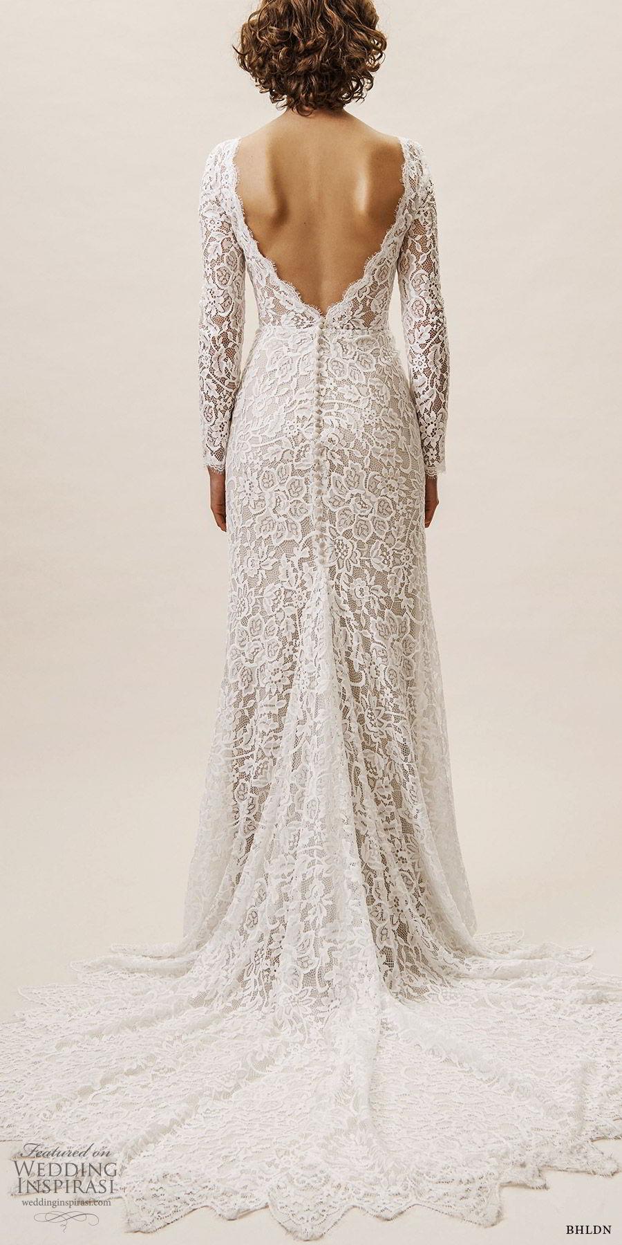 bhldn spring 2019 bridal illusion long sleeves v neckline sheath lace wedding dress low back chapel train (14) bv