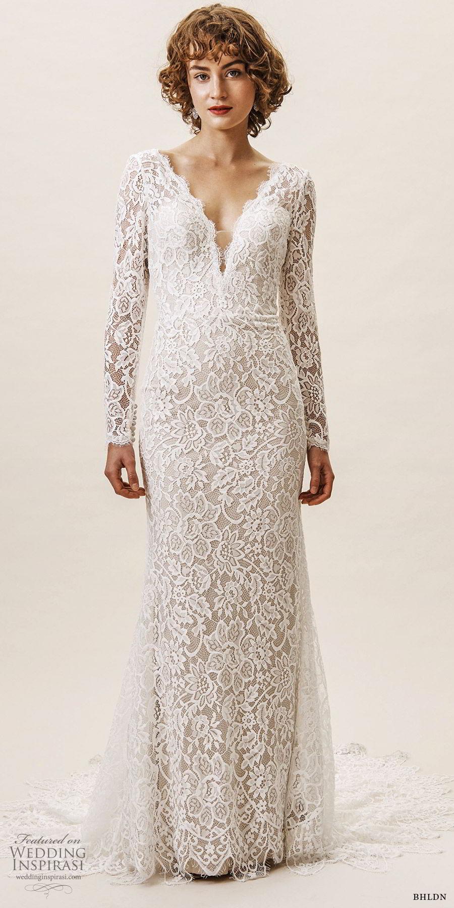 bhldn spring 2019 bridal illusion long sleeves v neckline sheath lace wedding dress low back chapel train (14) mv