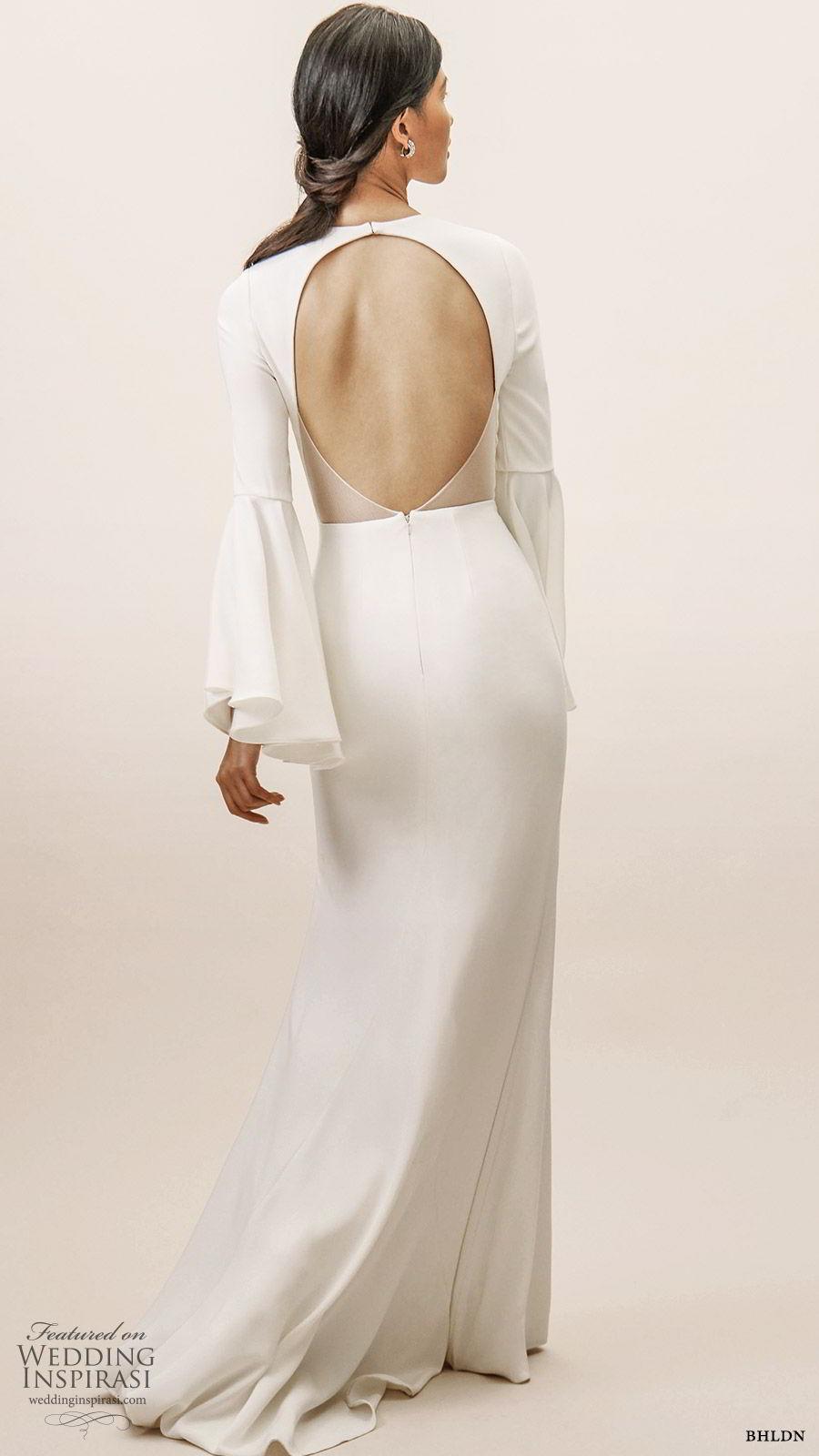 bhldn spring 2019 bridal long bell sleeves deep v neckline sheath wedding dress clean minimal elegant sweep train keyhole back (3) bv