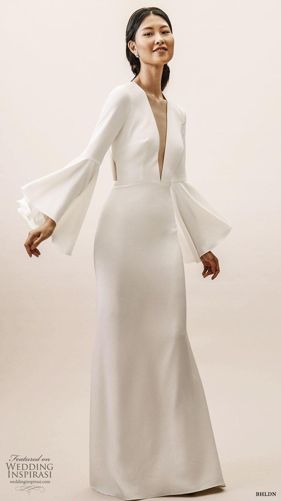bhldn spring 2019 bridal long bell sleeves deep v neckline sheath wedding dress clean minimal elegant sweep train keyhole back (3) mv