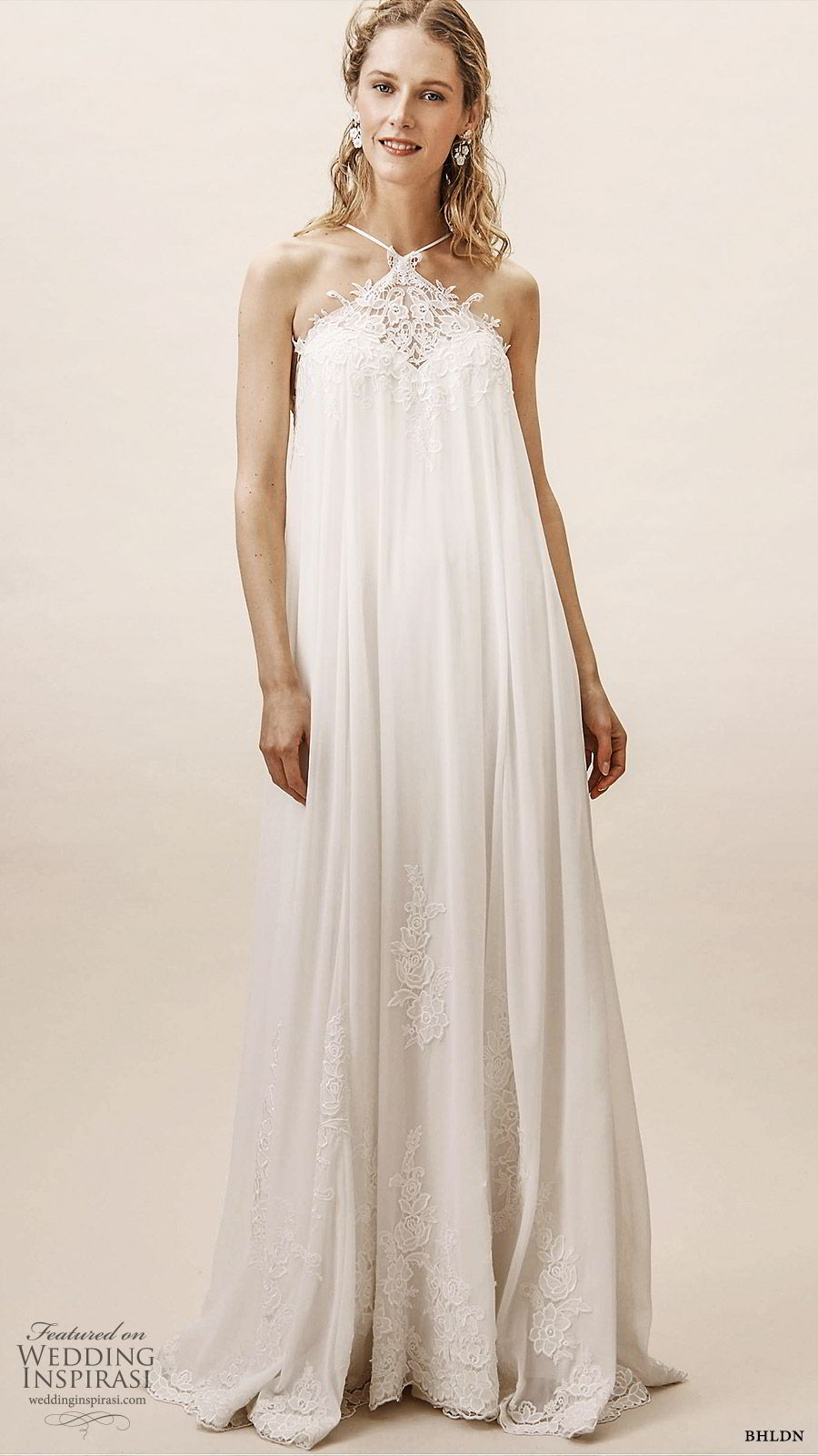 bhldn spring 2019 bridal sleeveless halter neck big column tent wedding dress boho romantic (2) mv