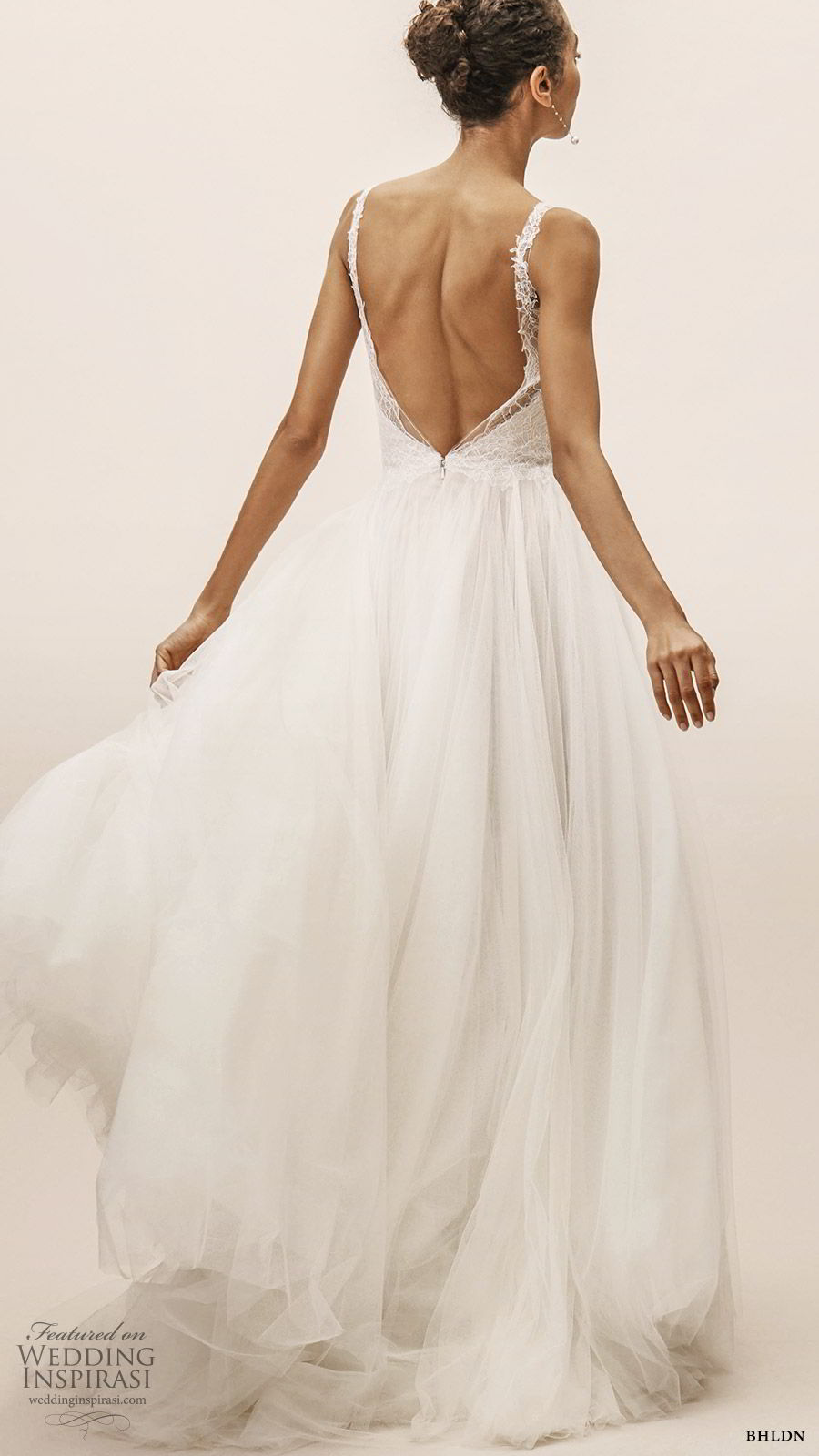 bhldn spring 2019 bridal sleeveless plunging v neckline lace bodice a line ball gown wedding dress low back sweep train romantic (8) bv