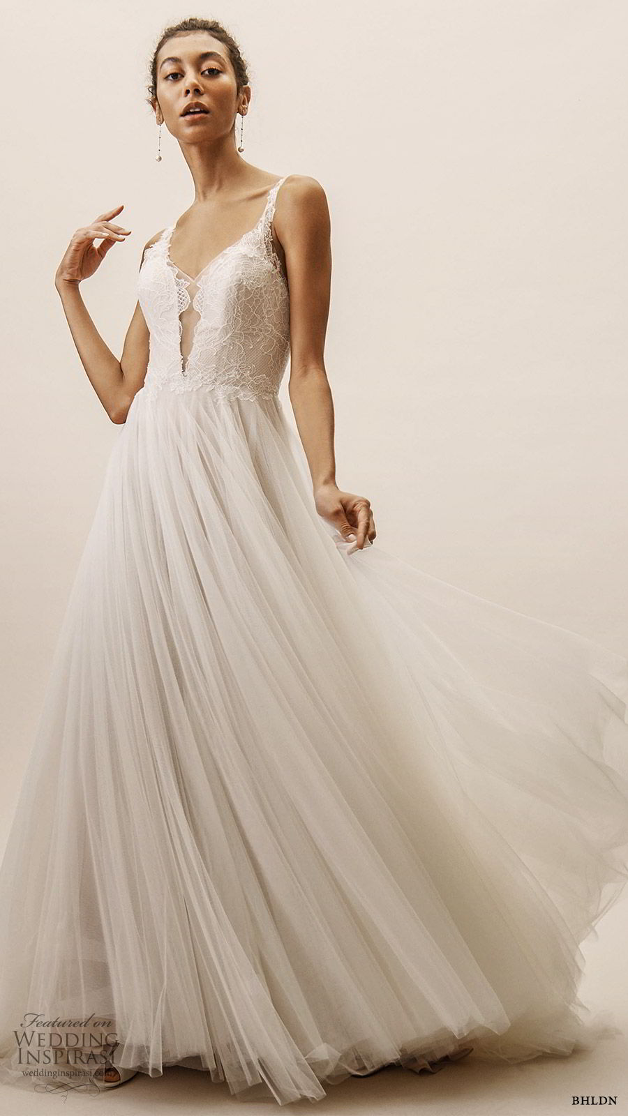 bhldn spring 2019 bridal sleeveless plunging v neckline lace bodice a line ball gown wedding dress low back sweep train romantic (8) mv