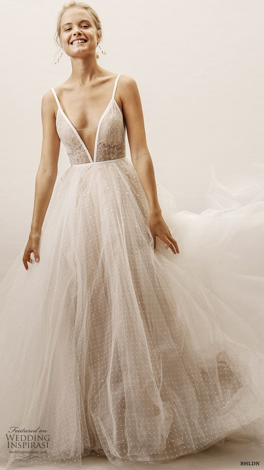 bhldn spring 2019 bridal sleeveless straps deep v neckline embellished bodice a line ball gown wedding dress romantic elegant (1) mv