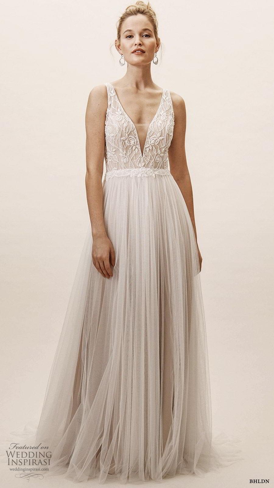 bhldn spring 2019 bridal sleeveless thick straps plunging v neckline embellished bodice a line ball gown wedding dress chapel train vback romantic (9) mv